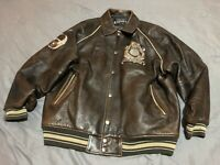 Avirex Tiger Big Patch leather Brown jacket XXL In Excellent Shape