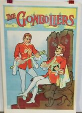 ORIGINAL STAGE POSTER GONDOLIERS or The King of Barat stage play 1910s