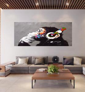Canvas  Street Art Print DJ MONKEY chimp Painting 100cm x 60cm Australia