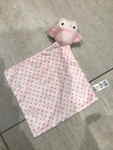 M&S Marks and Spencer Owl Vgc Comforter Blankie Blanket Pink spotty 08209 573