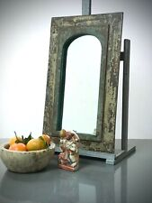 VINTAGE INDIAN FURNITURE. ART DECO, ARCHED TEMPLE MIRROR. MOSS & CAPPUCCINO.