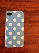 Blue and White Apple iPhone 4 / 4s Polka Dot Rubber Case/ Skin / Sleeve/ Fitted