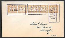 Curacao covers 1933 Shipcover KNSM SS LUNA to Philadelphia