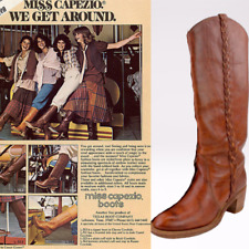 Vtg 70s Miss Capezio Whiskey Chunky Heel Braided D Campus Leather Boho Boots 6