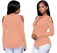 Ladies Women Pink Long Sleeve Cut-out Shoulder Ribbed Strappy Top Blouse T-shirt