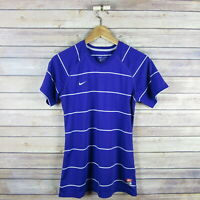 NIKE Women's Dri Fit Short Sleeve V Neck Athletic Top S Small Purple Striped