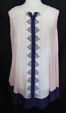 BLUE ILLUSION ~ Pale Pink White Triangle Geometric w Navy Trim Sleeveless Top M