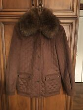 Ing for Loro Piana 100% Cashmere Brown Fur Collar Jacket US 4