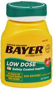 BAYER ASPIRIN LOW DOSE REGIMEN TABLET 300CT   aspirin ORAL TABLET DR 81 MG