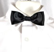 "Black Satin Bow Tie-12-18"" Stretch Elastic Band-Toddle,Boys,Child, Kids-Handmade"