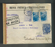 1942 Thessaloniki Greece Airmail Commercial Censored Cover Prague Czechoslovakia