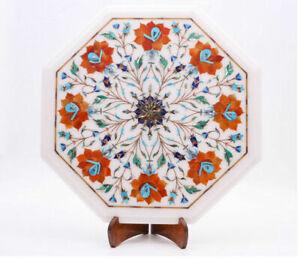 "12"" Marble End Table Top Carnelian Stones Semi Precious Stones inlay Handmade"