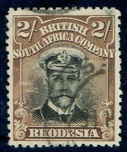 1913 Rhodesia Admiral 2/- Die II Ref 7 Pl 5 State 2 Frame Pl 6378 Perf 14 Type C