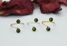 Adjustable Toe Rings-Choose Your Finish Olivine Green Swarovski Crystal Elements