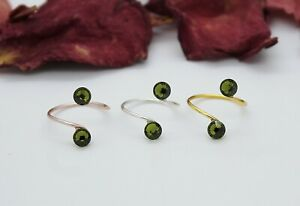 Adjustable Toe Rings Choose a Finish Olivine Green made with Swarovski Elements