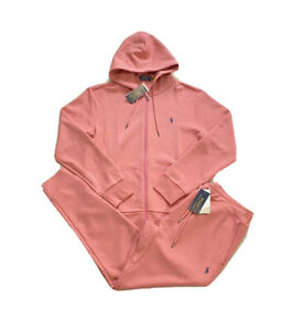 Polo Ralph Lauren Double Knit Tracksuit Hoodie Jogger Pink Coral NWT Men's XL