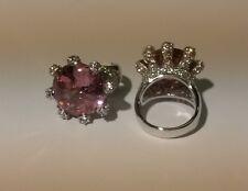 Bague T52 Sertie Gros Diamant Rose Cz 25 mm 19 Grammes d'Argent de Dolly-Bijoux