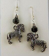 Pewter Zebra 3D Earrings with Hematite gemstones