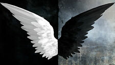 Black And White Angel Wings - Fantasy Dark Large Canvas Picture Print 20x30Inch