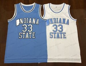Larry Bird #33 Indiana State Basketball Jersey Men's Stitched White Blue