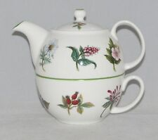Fine English Bone China Tea for One Set  Stacked Teapot & Cup BOTANICAL
