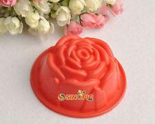 New 6X Silicone Rose Shape Candy Muffin Jello Pudding Ice Cake Decor Baking Mold