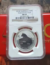 2010 P Australia Year of the Tiger 1/2 oz .999 Silver Coin NGC MS 69