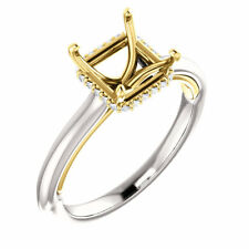 14K White & Yellow Gold Princess Cut Semi Mount Solitaire Engagement Ring