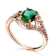 Women's Rose Gold Plated Green Emerald Crystals Engagement Ring Size 8 R76