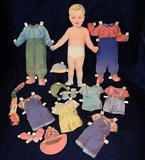"""Toddler Doll 11 1/2"""" 1940-50s Vintage Paper Doll Outfits Cut-Outs Lot"""