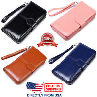 Women's Large Capacity Phone Holder ID Window Waxed Leather Clutch Wallet