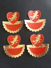 Vintage 4 Place Cards Valentine Cupid Heart Red Gold Foil Dennison USA nos