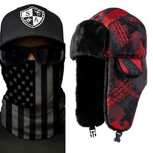 Salt Armour USA Red/Black Flag Trapper Hat + Blackout American Flag Face Shield