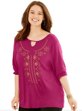 New Just My Size Graphic 3/4 Sleeve Key Hole Neckline Fluid Drape Tunic Top 2X