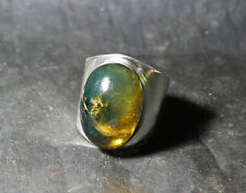 Sterling Silver Ring #13 for men Excellent Natural Clear Deep Green Amber .925