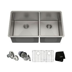 Kraus 33 Inch Undermount Double Bowl Stainless Steel Kitchen Sink. KHU103-33