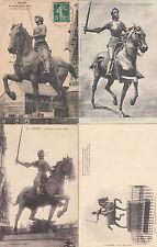 Lot 4 cartes postales anciennes REIMS statue jeanne d'arc 1