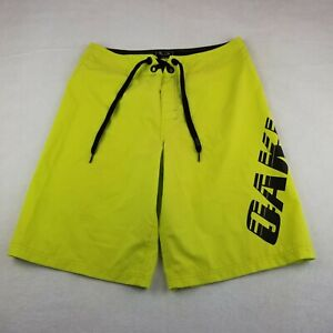 """Oakley Yellow Spell Out Board Swimming Short Size 31 11"""" Inseam Adult Drawstring"""
