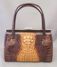 Vintage Antique Japan  Handbag Bag Hand Tote Japanese Leather Crocodile Brown