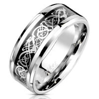 Celtic Dragon Steel Foil Inlaid Stainless Steel Ring 8mm Width Band R692
