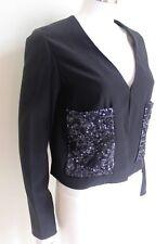 CHLOE Black Lightweight Sequin Pocket Jacket F36 uk 8