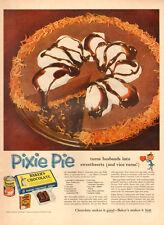 1955 vintage Bake AD,  BAKER'S CHOCOLATE  PIXIE PIE  looks delicious !  (110314)