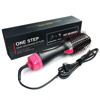 Home Hair Dryer Brush Styler Straightening Curling Roll Straight Hot Air Comb E