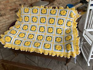 Yellow Ruffles and Roses Afghan - Crocheted Throw Bedspread