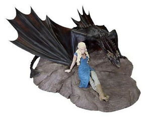 """NEW Game of Thrones Daenerys & Drogon (Mouth Closed) 9"""" Statue - Licensed HBO"""