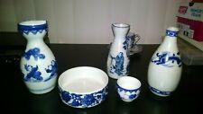 Authentic vintage Japanese  sake bottle  cup and dish qty 5 cobalt blue estate~~