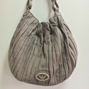 Emporio Armani Authentic Buttersoft Beige Leather Pleated Shoulder Bag