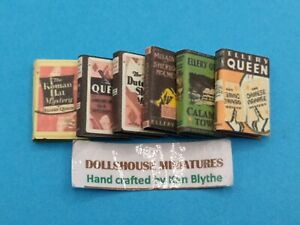 1:12 Scale, , 6 x Ellery Queen  Novels, Hand Crafted by Ken Blythe