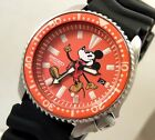 Seiko Ceramic Orange Retro Mickey Mouse Automatic Divers Date Watch Custom 7002