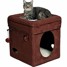"""MidWest """"The Original"""" Curious Cat Cube, House / Condo Brown Faux Suede"""
